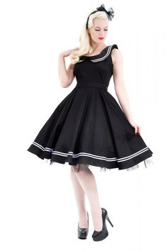 Cute SEAMAN Sailor Collar Rockabilly Petticoat Dress / Dress Rockabilly Sw