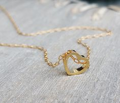 Gold love necklace Heart necklace Heart pendant by HLcollection
