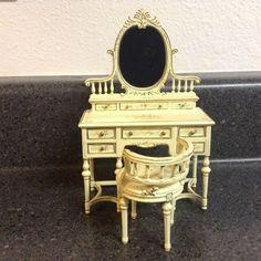 CLF dollhouse miniature rare Bespaq Edwardian vanity and chair with wild flowers #Bespaq