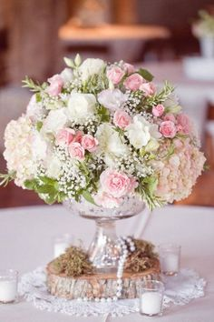 Shabby chic blush pink and white rose, hydrangea, and baby's breath floral arrangement for rustic vintage wedding centerpiece Floral Wedding, Wedding Bouquets, Wedding Flowers, Wedding Vintage, Trendy Wedding, Vintage Pink, Wedding Rustic, Vintage Flowers, Wedding Favors