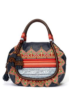 Isabella Fiore Valentina Embroidered Leather Satchel.