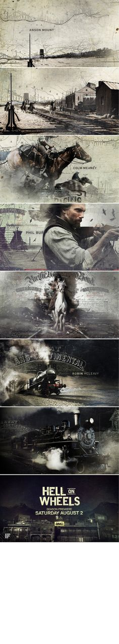 Motion graphics tv and movie titles - design styleframes Hell on Wheels - Hyejung Bae