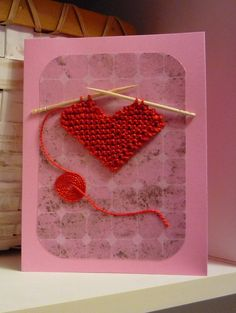 Make one special photo charms for you, compatible with your Pandora bracelets. Free Knitting Pattern for Loving Thoughts Heart Card - Show you care with a personalized card with a knitted heart by Kelly Jo Sweeney. Pictured project by fluffernutters Knitting Blogs, Knitting Patterns Free, Free Knitting, Knitting Projects, Knitting Ideas, Valentines Day Hearts, Valentine Day Cards, Knitted Heart Pattern, Fabric Cards