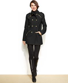 Vince Camuto Petite Faux-Leather-Trim Double-Breasted Military Coat