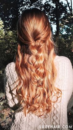 Strawberry Blonde Luxy Hair Extensions lemonade Braids Classic Strawberry Blonde Clip-Ins - Blonde Braids, Braids For Long Hair, Long Curly Hair, Curly Hair Styles, Natural Hair Styles, Short Hair, Curly Hair Ponytail, Braids Easy, Vintage Hairstyles