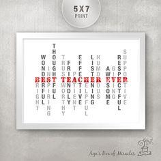 BEST TEACHER EVER 5x7 Inspirational Print / Inspirational Typography Print / Unique Teacher Appreciation Gift / Thank You Gift for Teachers