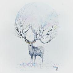 "Late post ""WINTER"" Watercolor on watercolor paper size 42,0x59,4 cm  #watercolor #watercolour #stag #deer #winter #art #artwork by #jongkie"