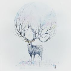 "Late post ""WINTER"" Watercolor on watercolor paper size 42,0x59,4 cm #watercolor #watercolour #stag #deer #winter #art #artwork by #jongkie"