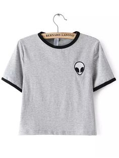 Grey Crew Neck Alien Print Crop T-Shirt -SheIn(Sheinside) Mobile Site