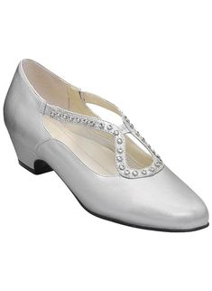 "Decorative pump with rhinestone stretch detail. Breathable, padded tricot lining, fully cushioned insole  and lightweight outsole. 1-1/4"" heel. Urethane. 10, 11, 12 whole sizes only. Imported. In whole and half sizes."