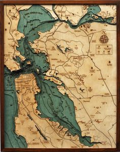 San Francisco Bay wooden bathymetric chart (the underwater equivalent of a topographic map) contour map