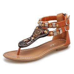 2f9c11974d007 Rumas® Summer Flip Retro Flat Sandals Roman Female Zipper Low-heeled Sandals      Visit the image link more details.