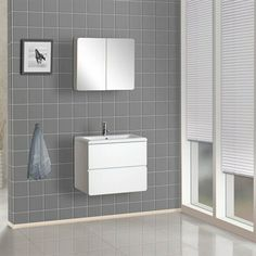Bath Authority DreamLine Wall-Mounted Modern Bathroom Vanity with Porcelain Counter and Medicine Cabinet - White