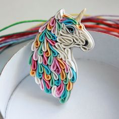 Unicorn brooch Polymer clay Unicorn Horse brooch by Liskaflower