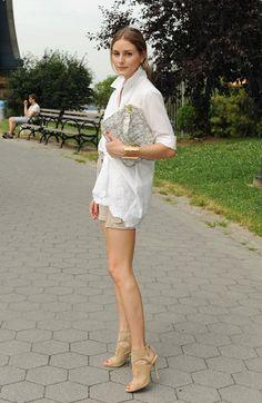 classy- crisp white shirt, tan shorts, nude heels and a great bag