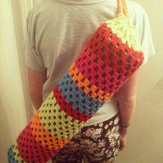 Handmade Colorful Crochet Granny Square Yoga Mat Bag