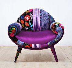 Amour de Smiley patchwork fauteuil violet par namedesignstudio