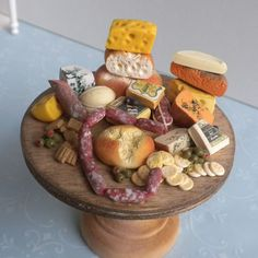 Huge Artisan Display Table of Bread Cheese Meat & Crackers - Dollhouse Miniature