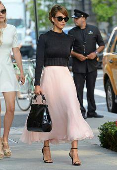 Jessica Alba pink Ralph Lauren NYF