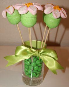Centro de Mesa de marshmallows   Centro de Mesa Flores de Marshmallow