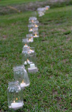 lined aisle with mason jars