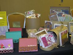1st table - love the paper mache treasure chest, circular boxes and mailbox from hobby lobby