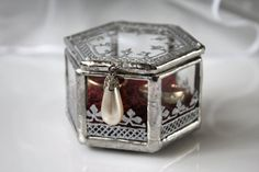 Hand Painted Ring Bearer Box Elegant Silver Paint by LaurusArt