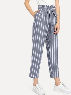 Shop Self Belted Striped Tapered Pants online. SHEIN offers Self Belted Striped Tapered Pants & more to fit your fashionable needs. Pants Outfit, Dress Outfits, Girl Outfits, Casual Outfits, Cute Outfits, Dress Clothes, Belted Shirt Dress, Tee Dress, Fashion Pants