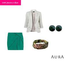 O #blazer é uma peça coringa - e pode até ser de #moletom! O visual fica perfeito para o dia com saia, bandana e brinquinho de prata... (Cod. do #brinco: 5779) #prata #auraprata #tendencias