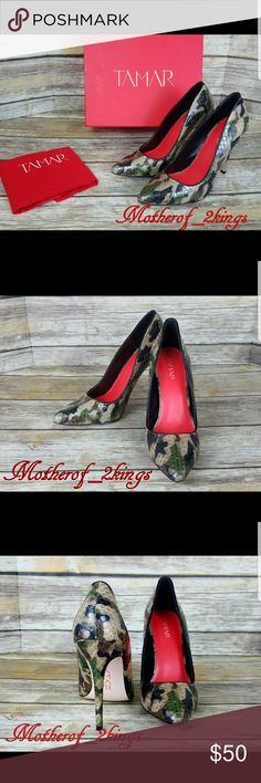 """🎁NEW🎁 TAMAR - CAMO SNAKE LEATHER PUMPS CAMO SNAKE LEATHER PUMPS by TAMAR.  NWT and complete with Dustbag!  Wonderful Christmas Gift! Ms. TAMAR has outdone herself with this shoe!  TTS  🎄BOX and DUSTBAG INCLUDED  👠 Heel Height: 4.5"""" TAMAR COLLECTION Shoes"""