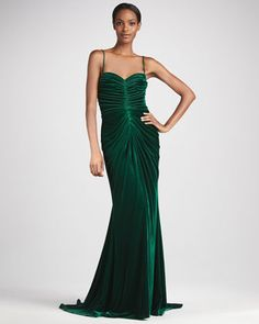 Ruched Velvet Sweetheart Gown by Tadashi Shoji at Neiman Marcus.