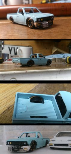 Leely custom hot wheels datsun 620 pickup custom drop dans oil cooler paint light blue
