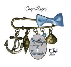 """Broche en laiton 5cm avec noeud """"Coquillages"""" : Broche par mt-bijoux-creation"""