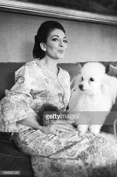Maria Callas and her poodle
