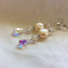 Swarovski crystals, freshwater pearls and sterling silver earrings made for my beautiful niece Lauren's wedding.