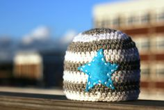 Crochet Star Beanie Hat for Newborn Baby Boy by KiransWorld, $14.00