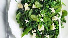 Spinach, pea and broccolini salad.