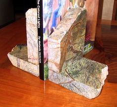 Melanie Heinrich Granite Book ends made from petrified marsh marble