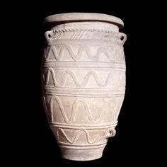 "Large Minoan pottery storage jar (pithos), dated around 1450/1400 BC, from Knossos, Crete. ""This large storage jar was found in the third 'magazine' (store-room) in the West wing of the palace at Knossos by a Cretan antiquary from Herakleion, named..."