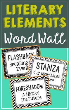 100 Language Arts Vocabulary, Literary Elements, and Figurative Language Word Wall Terms with Short Definitions. Created in black and white for easy printing. Easily add color that matches your class decor by printing on colored paper. Print one, two, or four per page for TONS of uses!