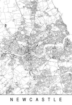 NEWCASTLE MAP High Quality Giclee Print by EncoreDesignStudios