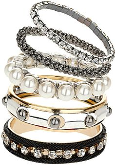 Topshop Silver Pearl and Mesh Bracelets