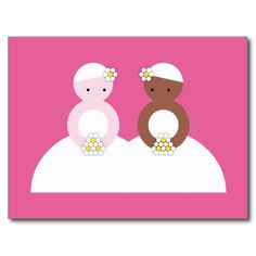 Two brides one caucasian post card