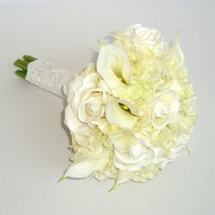 White Bridal Bouquet with Roses, Hydrangeas, & Calla Lilies