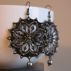 Black Pewter Scalloped Round Filigrees with Silver Pearl Ending by APromisedHope on Etsy
