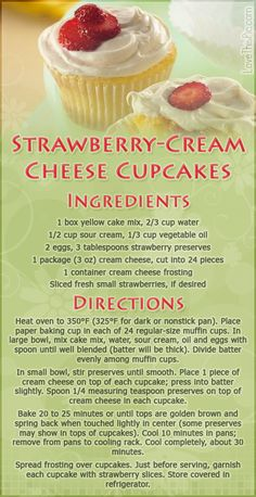 Strawberry Cream Cheese Cupcakes desert recipe recipes ingredients instructions desert recipes easy recipes cupcake recipes recipe ideas recipes for kids recipes to try mothers day recipes