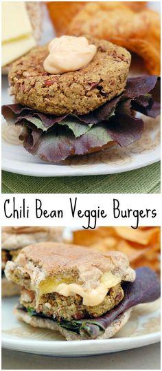 Super Easy Avocado Chili Bean Veggie Burgers