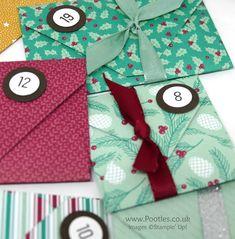 """Pootles Advent Countdown 2016 Activity Advent Calendar Part 2 - Christmas Pines, Presents & Pinecones DSP, 3/8"""" Silky Taffeta Ribbon Combo Pack, Project Life Date It, 1/2"""" Circle & 3/4"""" Circle punches, Envelope Punch Board (video on blog)"""