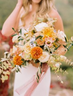Intimate Destination Wedding Among the Rolling Hills of the Italian Countryside - Green Wedding Shoes Yellow Bouquets, Fall Bouquets, Wedding Bouquets, Flower Bouquets, Anemone Wedding, Floral Wedding, Wedding Flowers, Fall Flowers, Wedding Colors