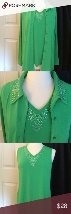 EMERALD GREEN JACKET & TOP NWT 93% Poly - 7% Spandex  - You will get a lot of use from this set - wear separately or together - Lots of options here!  SIMPLY AWESOME! Quacker Factory Tops